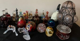 A quantity of good quality glass to Murano scent bottles, Phoenician glass paperweights, Caithness