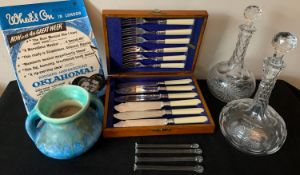Miscellany including 2 glass decanters, boxed fish knives & forks, glass sugar crushers, 'Whats on