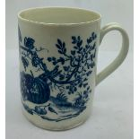 A late 18thC Worcester blue and white mug printed with the Parrot Pecking Fruit pattern. 8.5cms h.