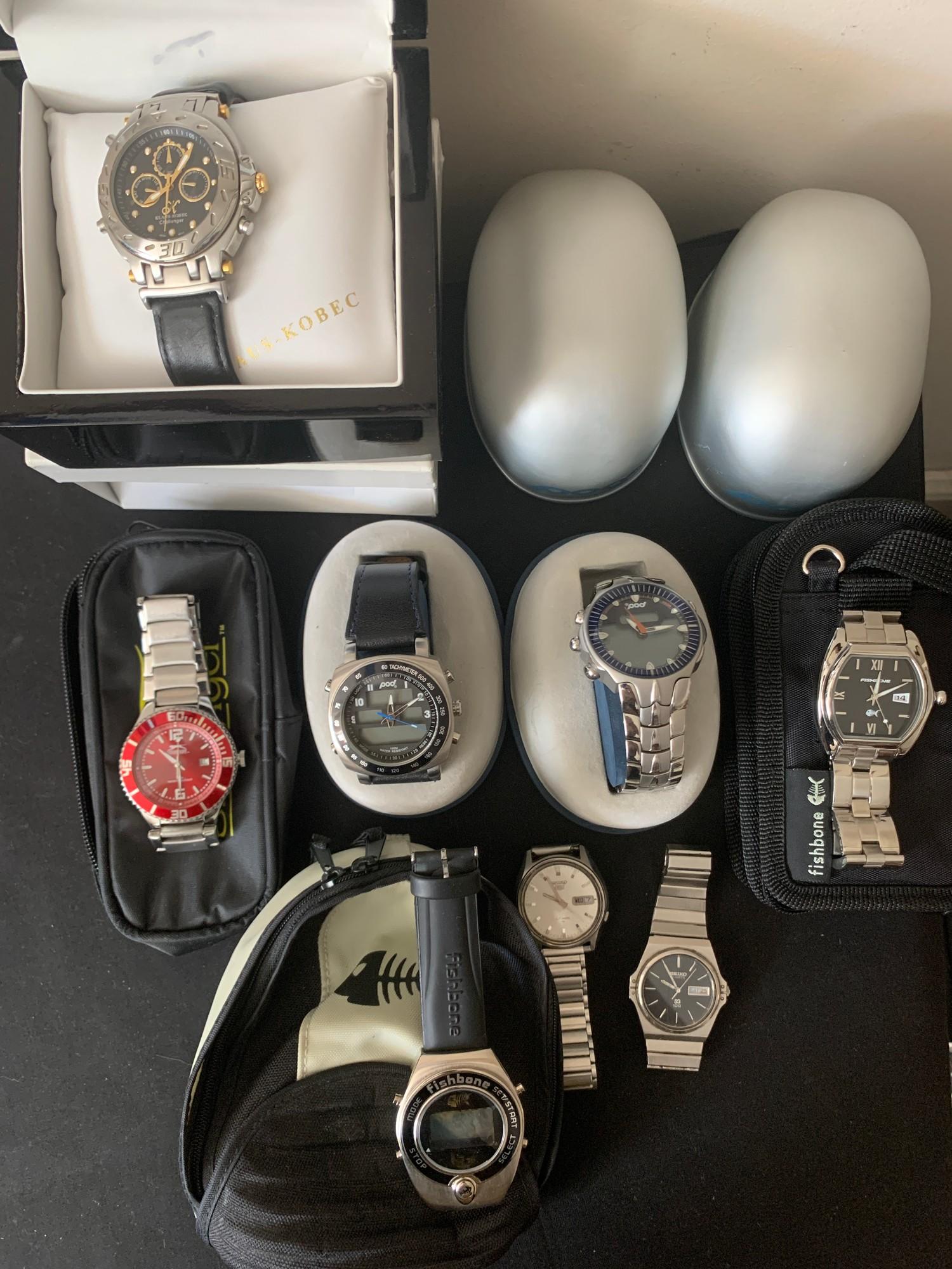 Eight gentlemen's wristwatches to include Slazenger, Klaus Kobec, Pod, Fishbone and Seiko.