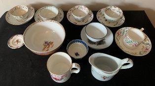 A quantity of 18thC/19thC ceramics to include tea cups, bowls, saucers, jug and child's plate.