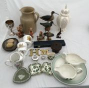 A mixed lot of pottery to include Hummel figures, creamware vase 28cms h, Susie Cooper plate 25cms d