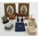 A miscellany comprising a green jade buddha 9cms h, wooden money box, Beswick Red Setter 14cms h,