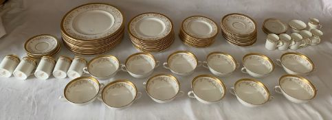 A large quantity of Royal Doulton Belmont pattern dinner service with a part Crescent coffee service