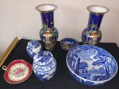 Ceramics to include 2 Carlton ware vases, 28cms h, Carton ware bowl, Copeland Spodes Italian bowl,