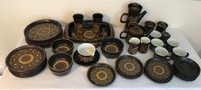 A Denby Arabesque Dinner and tea service, 50 pieces comprising: 6 dinner plates 25.5cms, 7 smaller