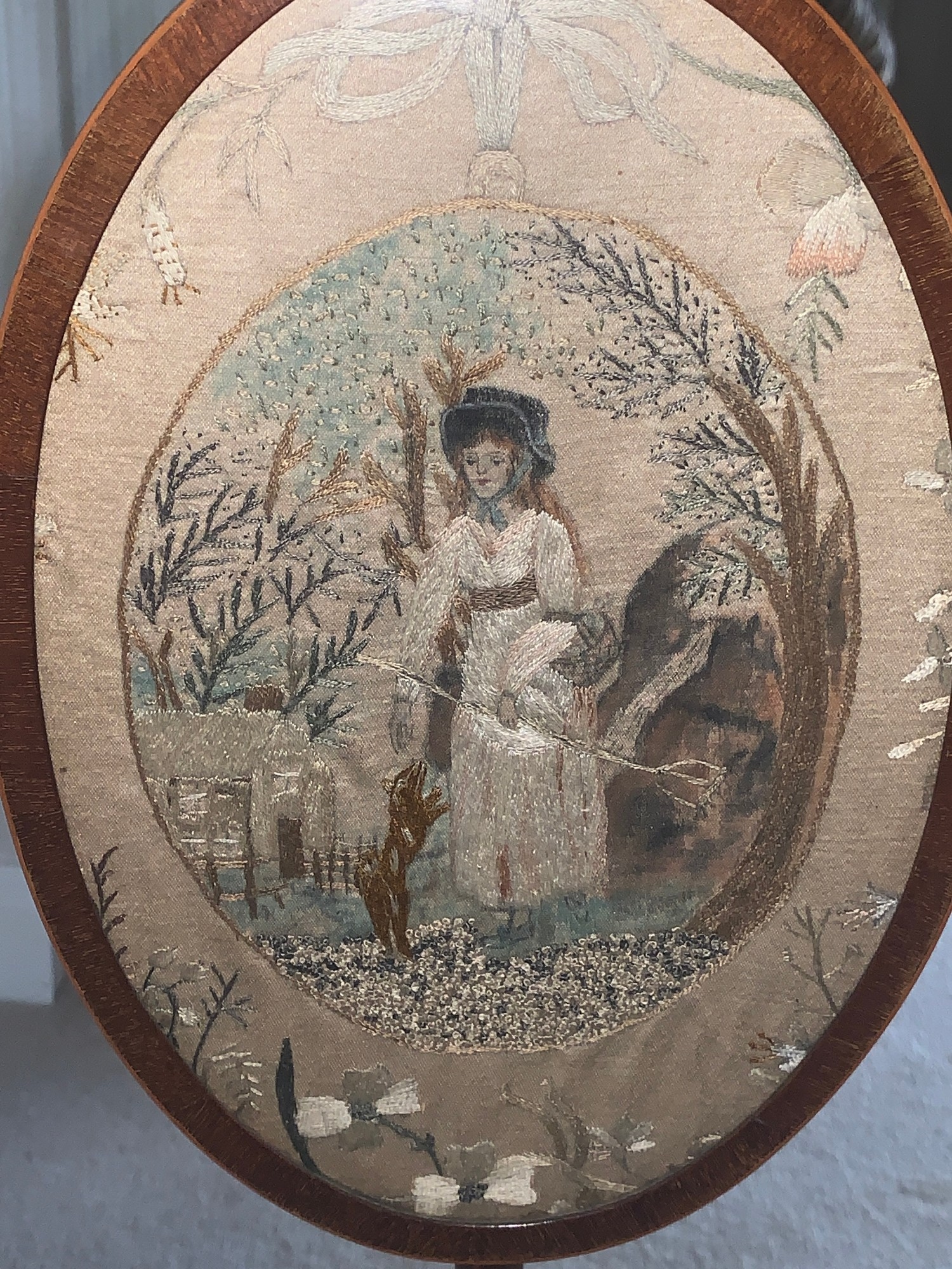 A Victorian mahogany pole screen on tripod base with embroidery to top. 131cms h.Condition - Image 3 of 4