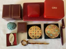 A miscellany to include vintage jewellery boxes, two compacts one marked Stratton with dancers to