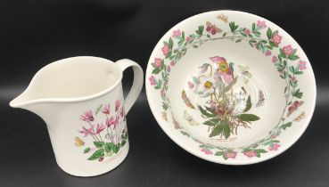 """Portmeirion Botanic Gardens to include bowl """"Christmas Rose"""" 28cms w and jug """"Ivy Leaved Cyclamen"""""""
