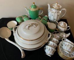 A Forstenberg coffee service, a Spode coffee service, a Losol ware tureen and large ladel.