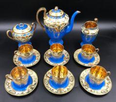 A Japanese Samurai China 15 piece coffee set with blue ground and gilt decoration. Coffee Pot