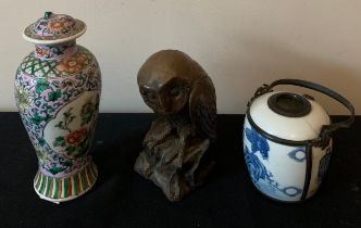 Oriental ceramics to include an opium pipe together with a bronzed effect owl by M.W. Pierce.