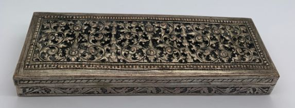 A 19thC Indian silver plated pen/pencil box, 16 x 5cms.
