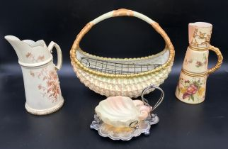 A collection of Royal Worcester to include a basket vase 24cms h x 207cms w, tusk jug 20cms h,
