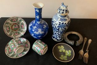 A group of ceramics to include Chinese vases, cups and saucers, a Marazion dish together with a