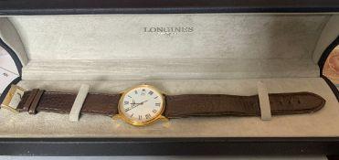 A Longines gentlemans wristwatch in original case.Condition ReportWear to strap buckle.