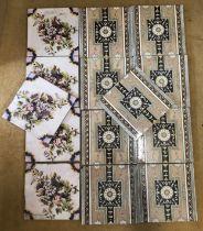 Set of nine Minton tiles, brown floral design 20.5cms square and a set of five floral patterned