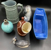 A selection of ceramics to include a blue Holkham pottery boat 42 x 15cms, an Aviemore Pottery