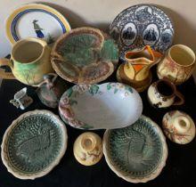 A group of ceramics to include Carlton Ware, Henriot Quimper, Moto Ware, E. Radford. Majolica etc.