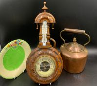 Miscellany to include wall mounted barometer 43cms l, copper kettle with acorn knob and a Crown