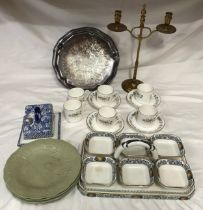 """A mixed lot to include: a Marling """"Lucerne"""" pattern condiment tray with 6 dishes 34cms w, 6 Royal"""