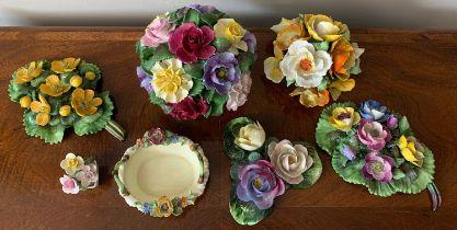 Seven various ceramic posies to include Crown Staffordshire, Coalport, Adderley, Denton china etc.