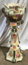 A early 20thc floral decorated planter and pedestal. 85cms h.Condition ReportSome glaze crackling,