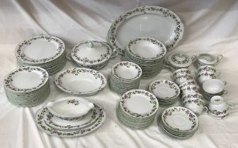 A Noritake dinner service comprising 90 pieces : meat plate 52cms, tureen, dinner plates 25.5cms x