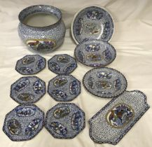 """A selection of William Adams """"Chinese bird"""" pottery to include a large jardinere 21cms h, bowl 26cms"""