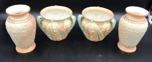 A pair of Royal Worcester planters 12cms h x 16cms d and a pair of Worcester Locke & Co vases