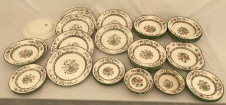 Copeland Spode 'Chinese Rose' patterned dinnerware, 47 pieces comprising 8 dinner plates 27cms d,