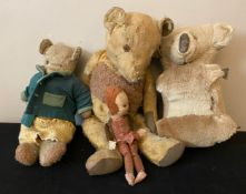 Two teddys a koala bear and a doll marked Norah Wellings. Approx height of big bear 53cms. Small