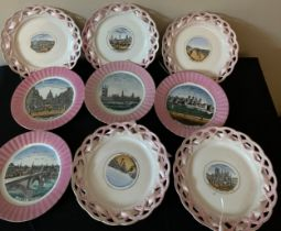 A selection of nine 19thc pink lustre souvenir plates with various scenes of London and Hull to