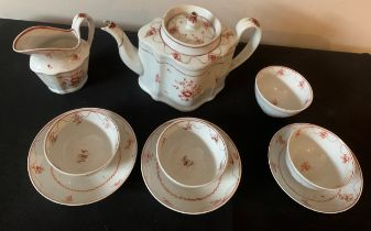 A Newhall silver shaped teapot circa 1790, jug, four tea bowls and three saucers.Condition