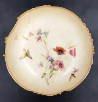 A Royal Worcester decorative pedestal plate with floral and butterfly decoration. 21.5cms d x 7.5cms