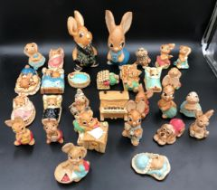 A collection of 30 Pendelfin figurines. Two largest 20cms h.Condition Report16 small ones with chips