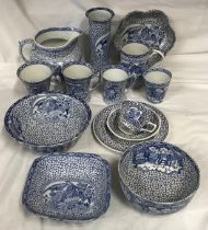 """A selection of William Adams blue and white ware """"Chinese bird""""pattern to include jug 15cms h,"""