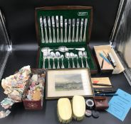 A mixed lot to include an Oneida canteen of cutlery, loose unused stamps, print Houghton Tower,