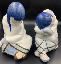 Two large Lladro Eskimo figures. Tallest 30cms h.Condition ReportGood condition apart from a tiny