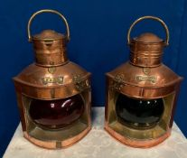 A NEAT SIZED PAIR OF COPPER SHIPS LANTERS, Port & Starboard, Port with curved red coloured glass