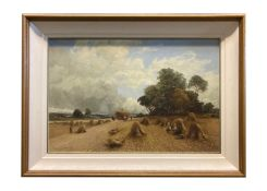 """WILLIAM MANNERS, (1860 - 1930) """"A HAY GATHERING SCENE"""", oil on canvas, signed and dated 1897 lower"""