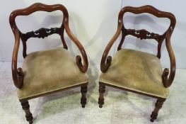 A VERY GOOD QUALITY PAIR OF 19TH CENTURY MAHOGANY CARVER / ARMCHAIRS, with clover shaped crest rail,