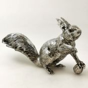 AN ANTIQUE STERLING SILVER SQUIRREL FIGURE / MODEL / STATUE, Continental silver, German made,