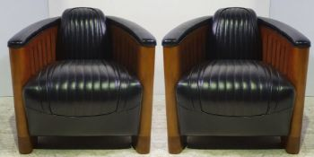 A PAIR OF TOP QUALITY BLACK LEATHER & CHERRY WOOD ART DEO STYLE 'AVIATOR' CLUB ARMCHAIRS, in