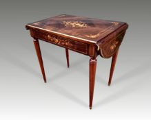 A VERY FINE 19TH CENTURY FRENCH ROSEWOOD DROP LEAF TABLE, with brass moulded top, decorated with