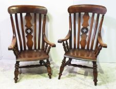 A RARE HIS & HERS PAIR OF 19TH CENTURY ASH & ELM WINDSOR ARMCHAIRS, the back support is shaped and