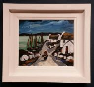 PATRICK MURPHY, COASTAL VILLAGE, oil on board, signed lower left, inscribed and signed again