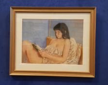 """COLETTE MILLS, """"GIRL READING"""", pastel on paper, signed lower right, 35"""" x 28"""" approx frame"""
