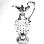 AN ANTIQUE SILVER & GLASS CLARET JUG / WINE DECANTER, London made, 1901 by Horace Woodward,