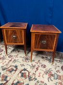A FINE PAIR OF MAHOGANY AND SATINWOOD INLAID LOCKERS, flame mahogany, each with a single deep